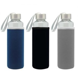 glass bottle with pouch